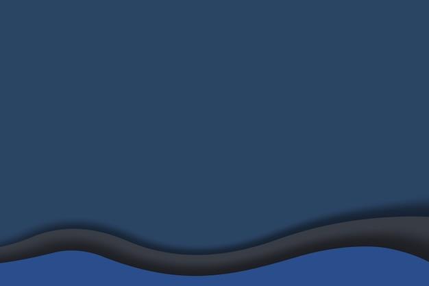 Fundo de camada de papel de ondas azuis nas cores da moda 2020.