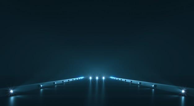 Fundo de caminho futurista com iluminação clara
