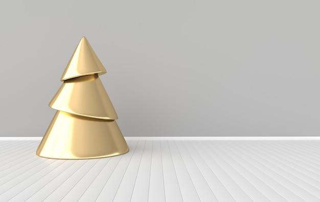 Fundo de celebração de ano novo árvore de natal dourada em design minimalista