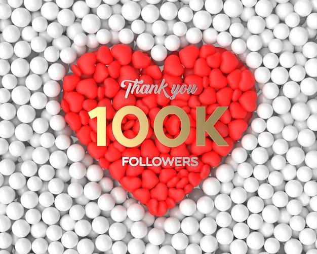 Fundo de celebração do seguidor 100k 3d