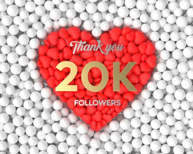 Fundo de celebração do seguidor 3d 20k