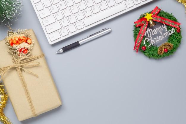 Fundo de cena de natal do espaço de trabalho de escritório