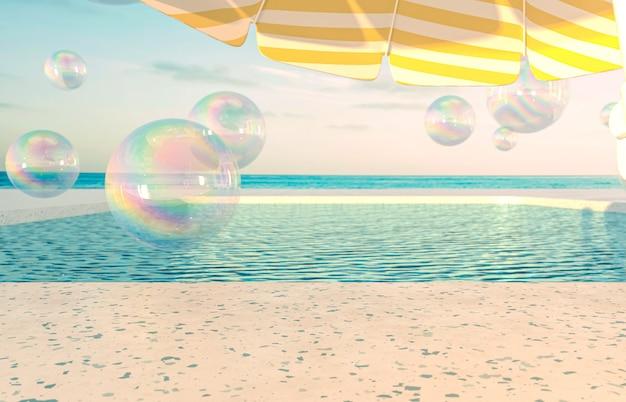 Fundo de cena de praia de verão com bolhas e guarda-sol
