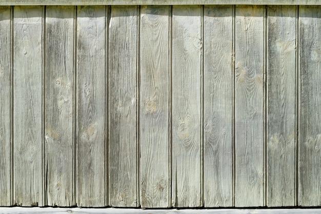 Fundo de cerca velha. pranchas de madeira verticais close-up. parede de pranchas cinza-esbranquiçada.