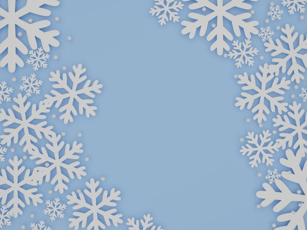 Fundo de céu azul de inverno com flocos de neve, renderização em 3d