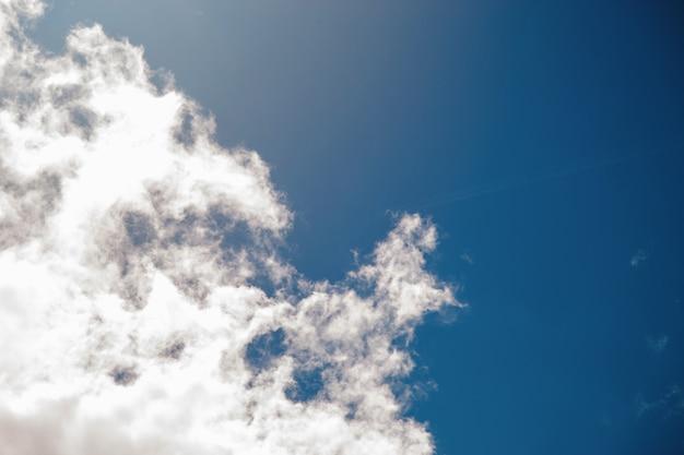 Fundo de céu azul profundo com nuvens minúsculas