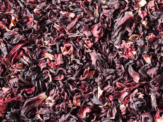 Fundo de chá de hibisco, close up. camada plana, vista superior.