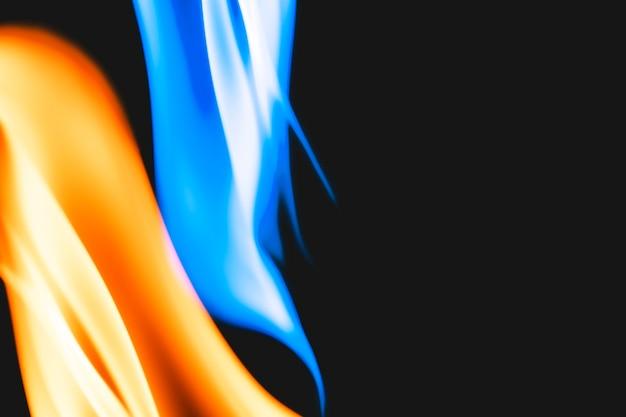 Fundo de chama azul em chamas, imagem realista de borda de fogo