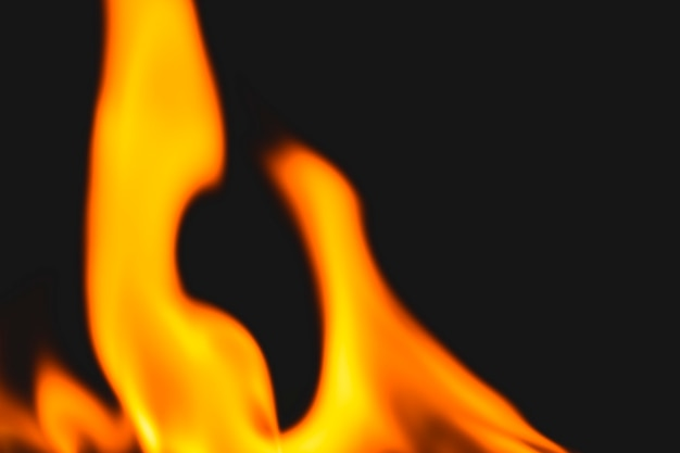 Fundo de chama escura, imagem realista de borda de fogo