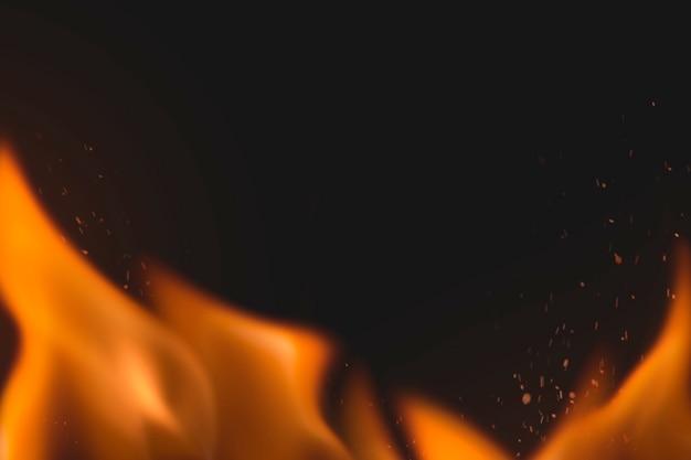 Fundo de chama estética, imagem de fogo realista de borda laranja