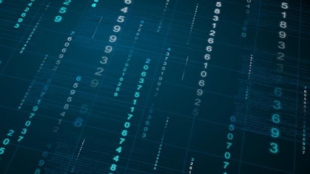 Fundo de chuva binária. dados digitais no blueprint