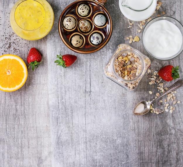 Fundo de comida com café da manhã saudável