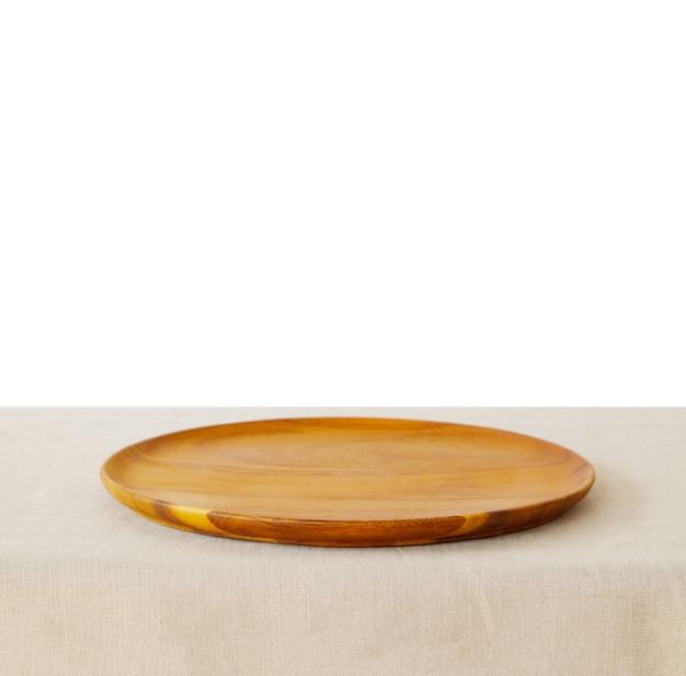 Fundo de comida, prato de madeira vazio, bandeja para exposição de produtos de cozinha na mesa isolada no fundo branco