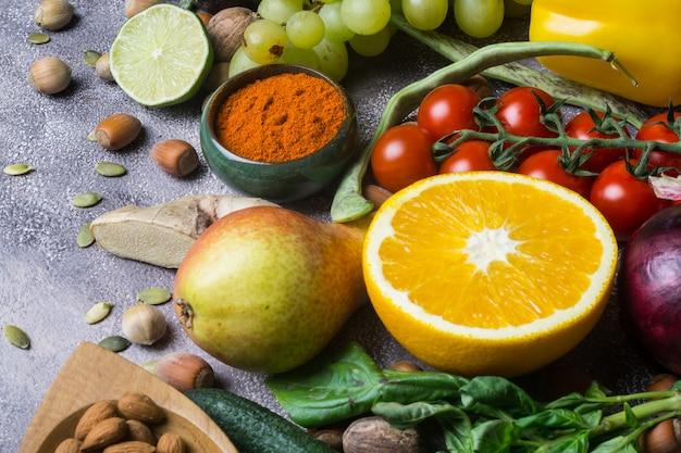 Fundo de comida saudável, quadro de alimentos orgânicos.