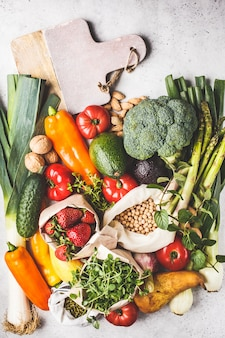 Fundo de comida vegetariana equilibrada