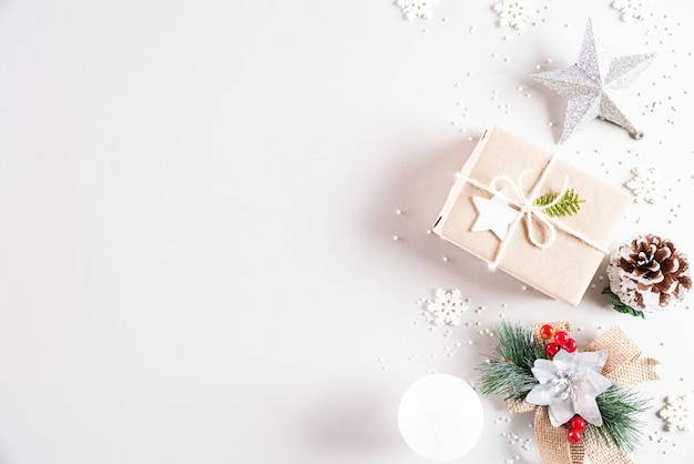 Fundo de composição de férias de natal com espaço de cópia de texto.