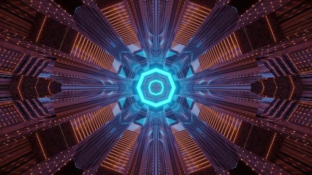 Fundo de conceito futurista de tecnologia e arquitetura através de um túnel iluminado com desenho geométrico octogonal e iluminação de néon colorida