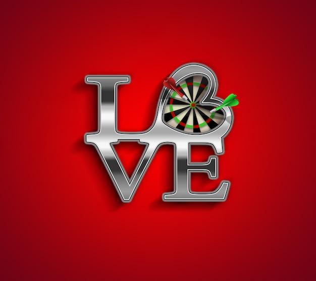 Fundo de conceito romântico com cartas de amor e dardos dentro do coração