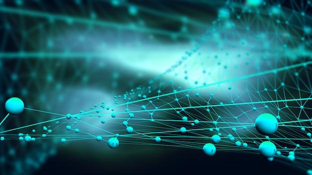 Fundo de conexões 3d com esferas e linhas de conexão