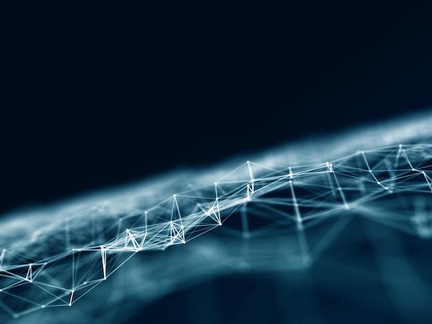 Fundo de conexões 3d com linhas e pontos de conexão de baixo poli