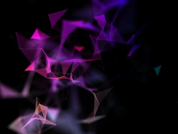 Fundo de conexões de rede 3d com design de plexo