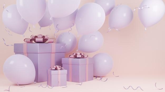 Fundo de cor rosa pastel de férias de natal e feliz ano novo com uma caixa de presente e um balão., modelo 3d e ilustração.