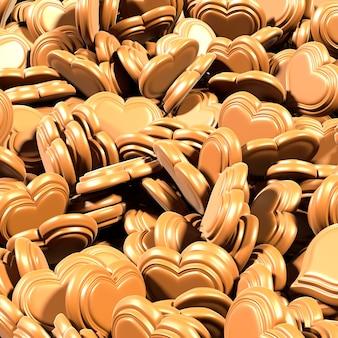 Fundo de corações de chocolate para dia dos namorados