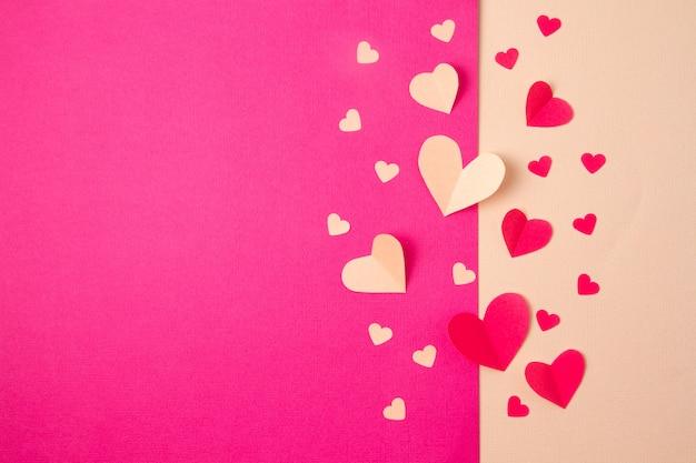 Fundo de corações de papel
