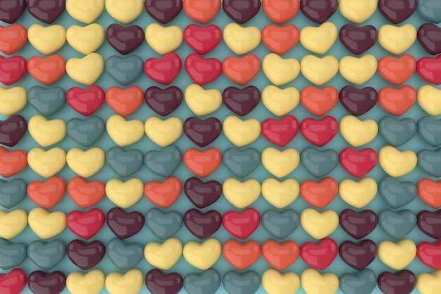 Fundo de corações. renderização em 3d.