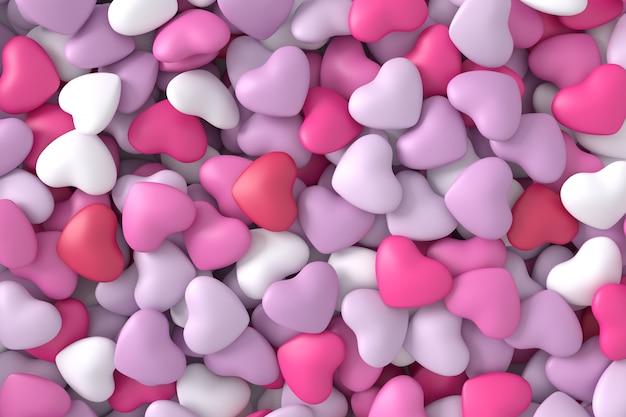 Fundo de corações rosa. renderização 3d.