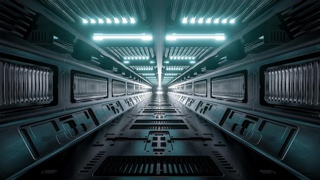Fundo de corredores de nave espacial de ficção científica, renderização em 3d.