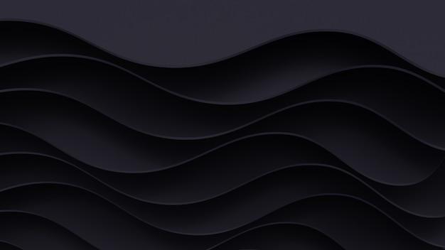 Fundo de corte de papel escuro realista. pôster de papel abstrato texturizado com camadas onduladas. imitação de relevo topográfico.