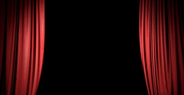 Fundo de cortina de palco vermelho com espaço de cópia