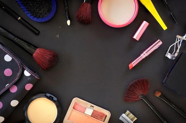 Fundo de cosméticos maquiagem