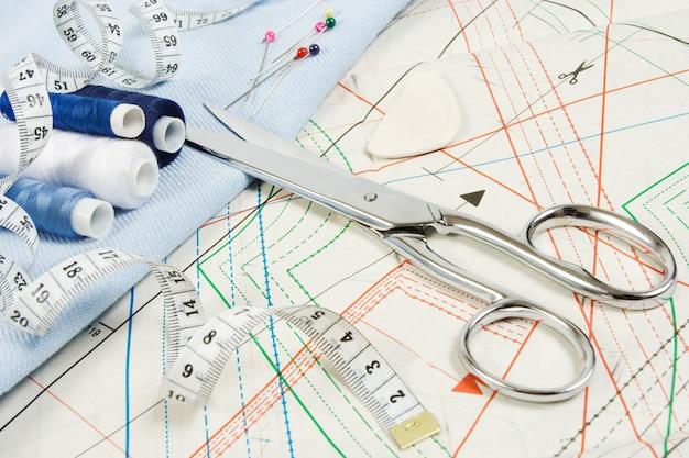 Fundo de costura com tesoura
