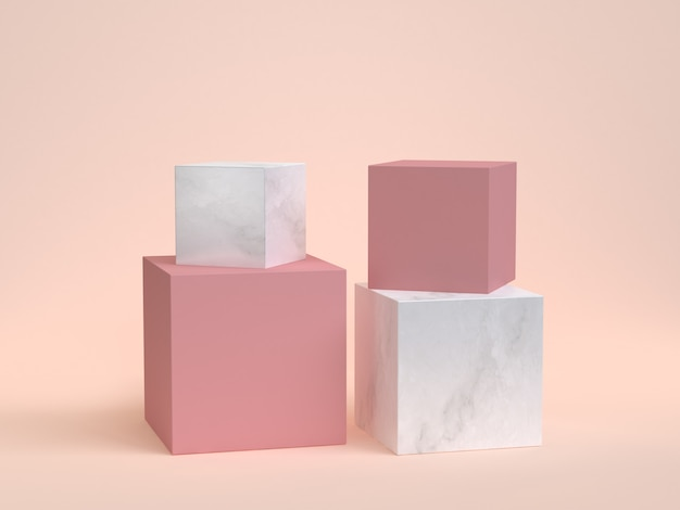 Fundo de creme de renderização 3d de cubo-caixa de mármore rosa