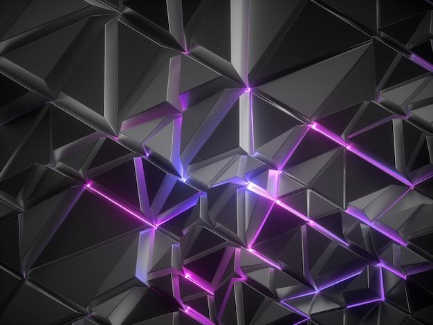 Fundo de cristal facetado metálico preto abstrato