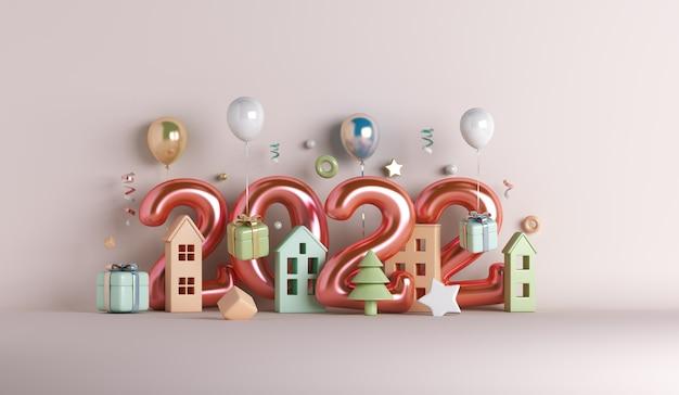 Fundo de decoração de feliz ano novo 2022 com caixa de presente de balão para construção de casa