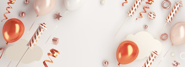 Fundo de decoração de feliz ano novo com nuvem de fogos de artifício em balão