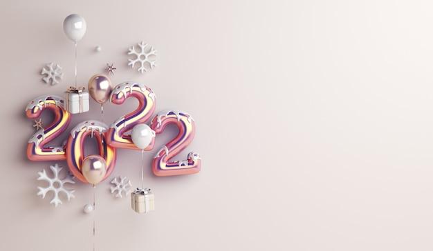 Fundo de decoração de feliz ano novo de 2022 com flocos de neve de caixa de presente em balão
