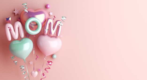 Fundo de decoração de feliz dia das mães com balão em forma de coração
