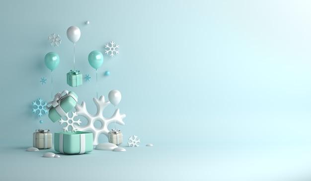 Fundo de decoração de inverno com caixa de presente de flocos de neve de balão