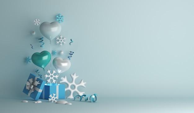 Fundo de decoração de inverno com caixa de presente de flocos de neve em formato de coração.