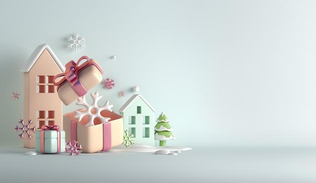 Fundo de decoração de inverno com caixa de presente de flocos de neve para construção de casas