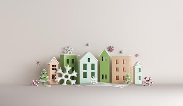 Fundo de decoração de inverno com flocos de neve de cidade para construção de casas