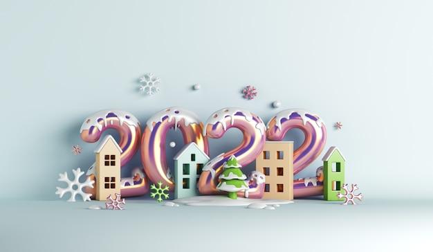 Fundo de decoração de inverno feliz ano novo de 2022 com flocos de neve de caixa de presente de balão para construção de casas