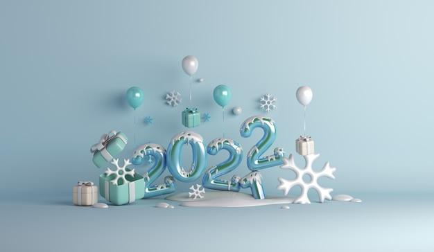 Fundo de decoração de inverno feliz ano novo de 2022 com flocos de neve de caixa de presente em balão