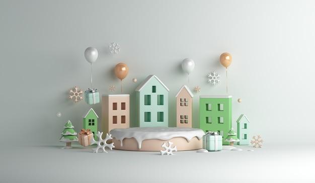 Fundo de decoração de pódio de exibição de inverno com balão de caixa de presente de flocos de neve para construção de casas