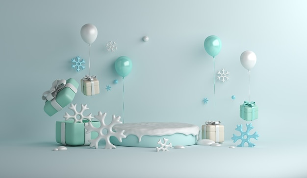 Fundo de decoração de pódio de exibição de inverno com caixa de presente de flocos de neve de balão
