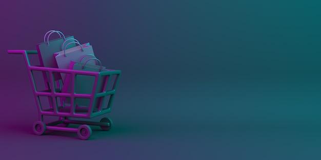 Fundo de decoração de venda de sexta-feira negra com carrinho de compras, espaço de cópia